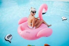 Pink Flamingo Pool Wedding